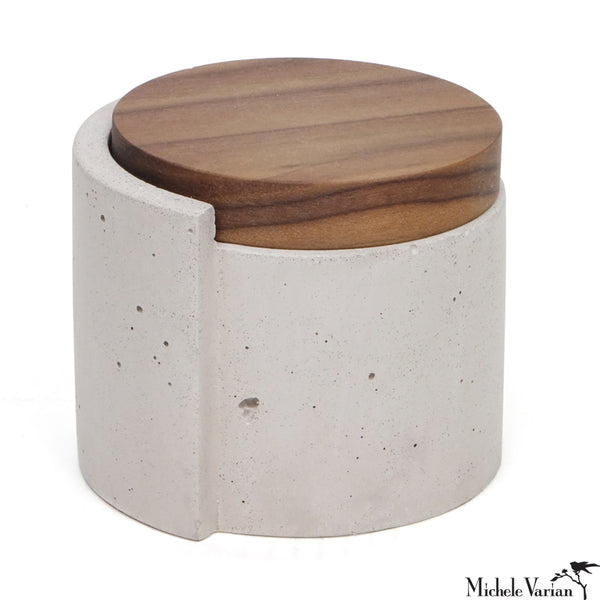 Grey Concrete Vessel With Walnut Lid