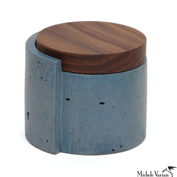 Concret Blue Vessel with Walnut Lid