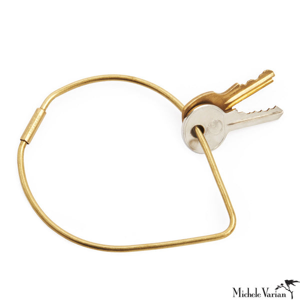 Brass Contour Key Ring Drop