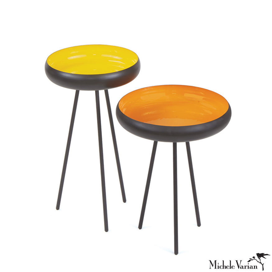 Enameled Color and Matte Black UFO Tripod Side Tables set of 2