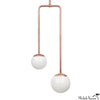 Double Circuit Globe Pendant Light Fixture in Copper