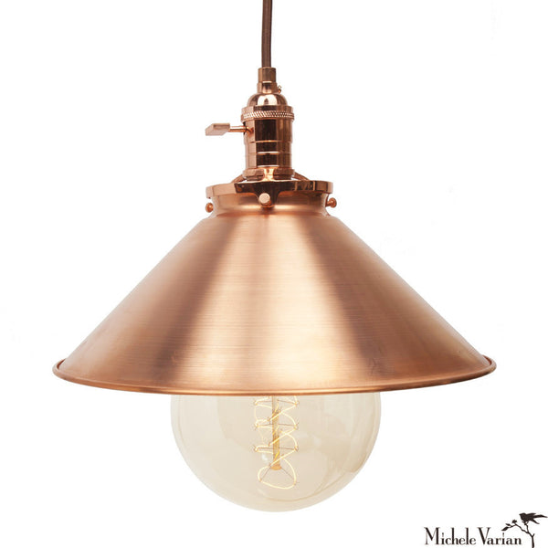 Copper Funnel Pendant Light 12""