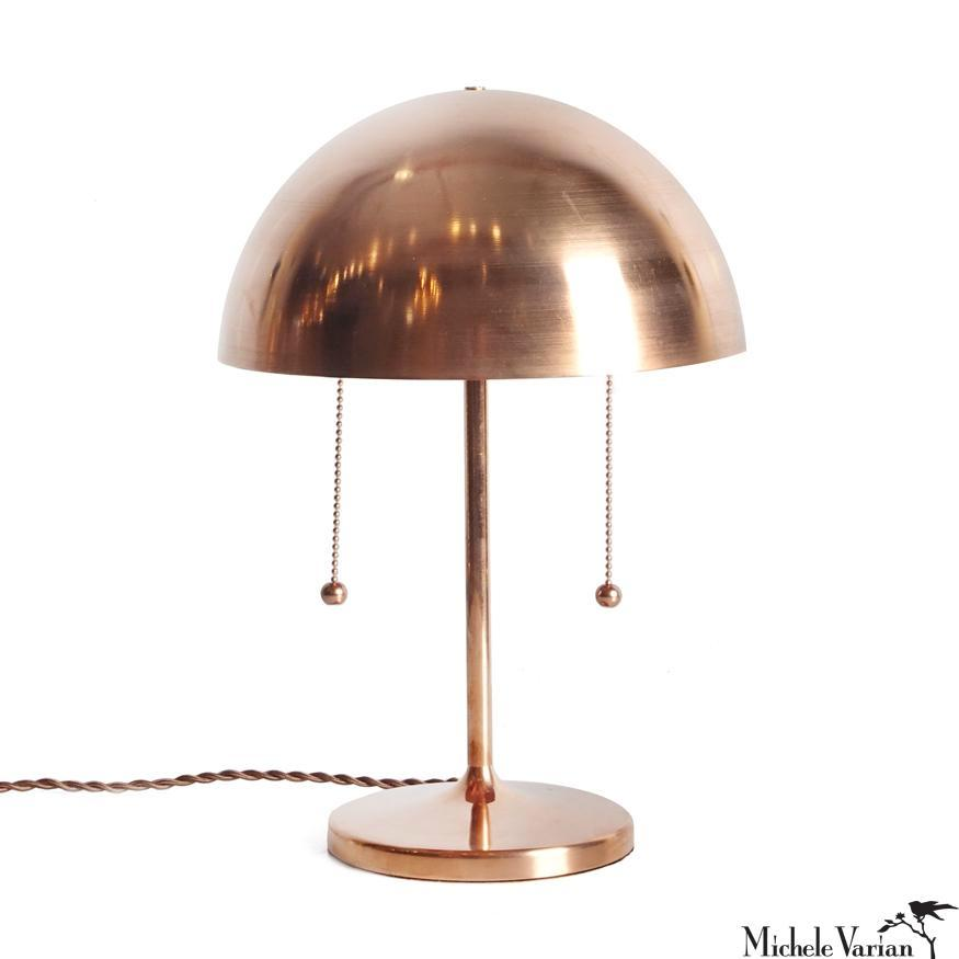 Simplistic Spun Copper Table Lamp with Double Pull Chains