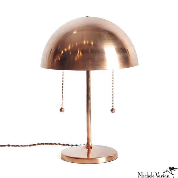 Copper Simplistic Spun Table Lamp with Double Pull Chains
