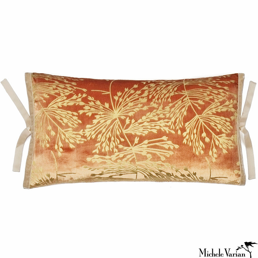 Printed Velvet Pillow Copper Sprig 12x22