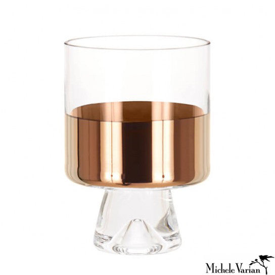 Copper Trim Low Ball Glasses Pair