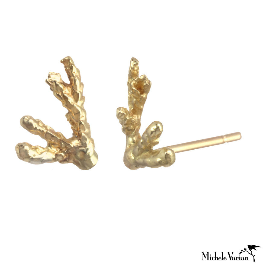Gold Coral Studs