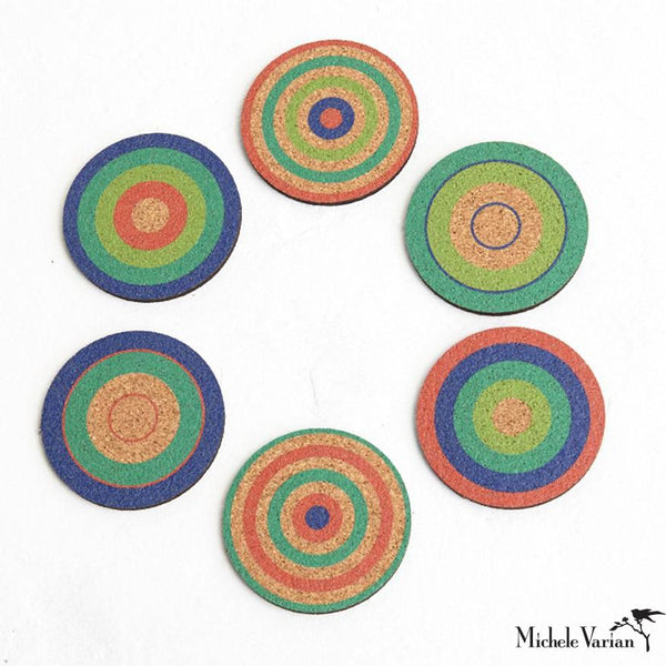 Bullseye Cork Coasters Set of 6 - Green