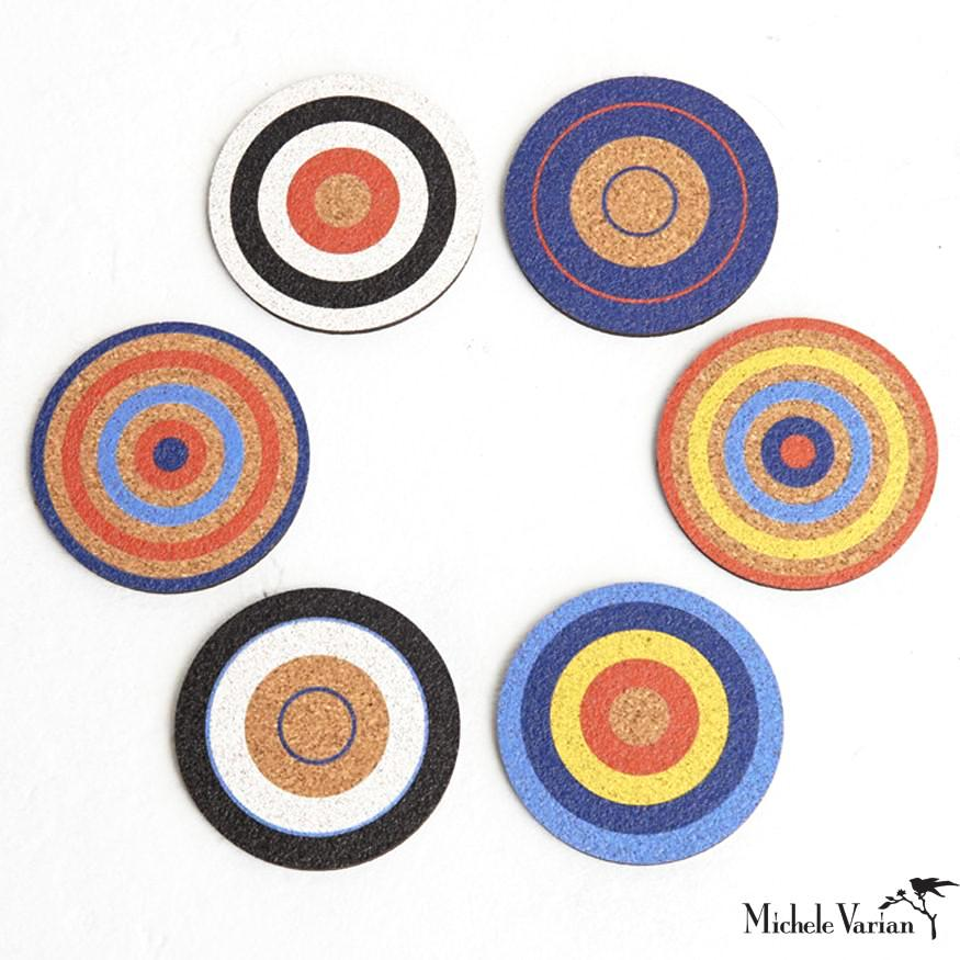 Bullseye Cork Coasters Set of 6 - Blue