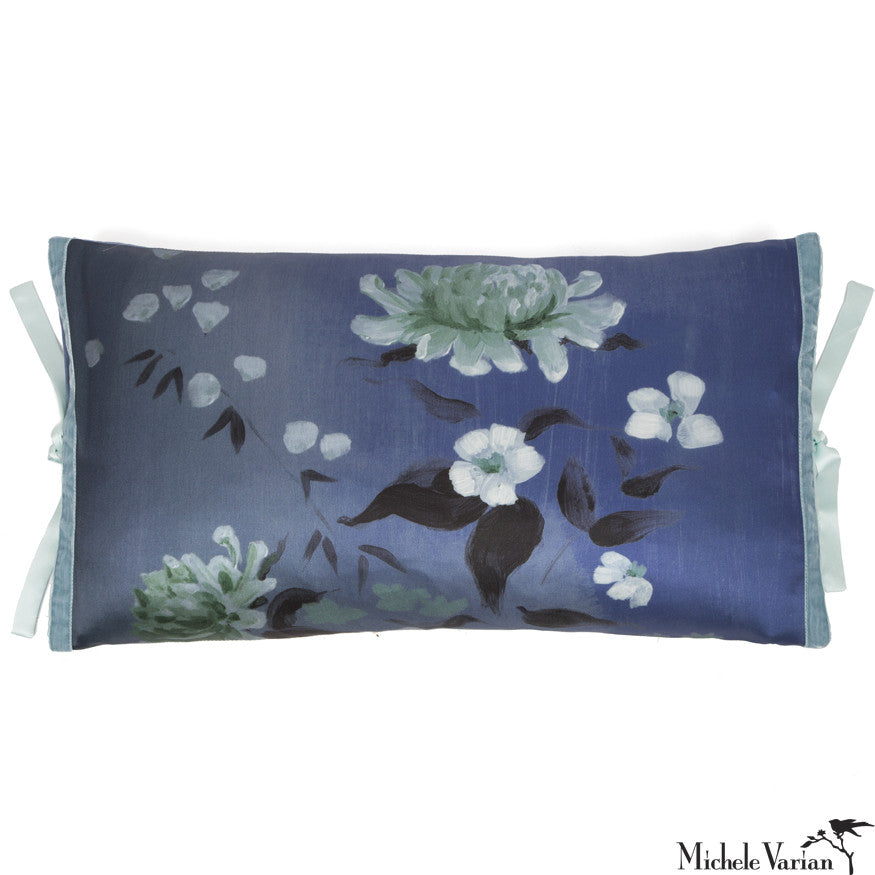 Silk Print Pillow Corn Flower 12x22