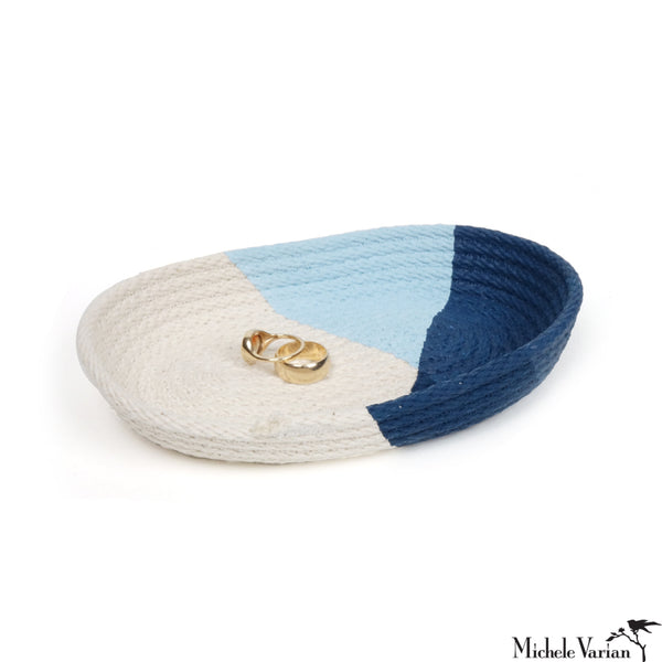 Stitched Cotton Rope Tray Blue Dip