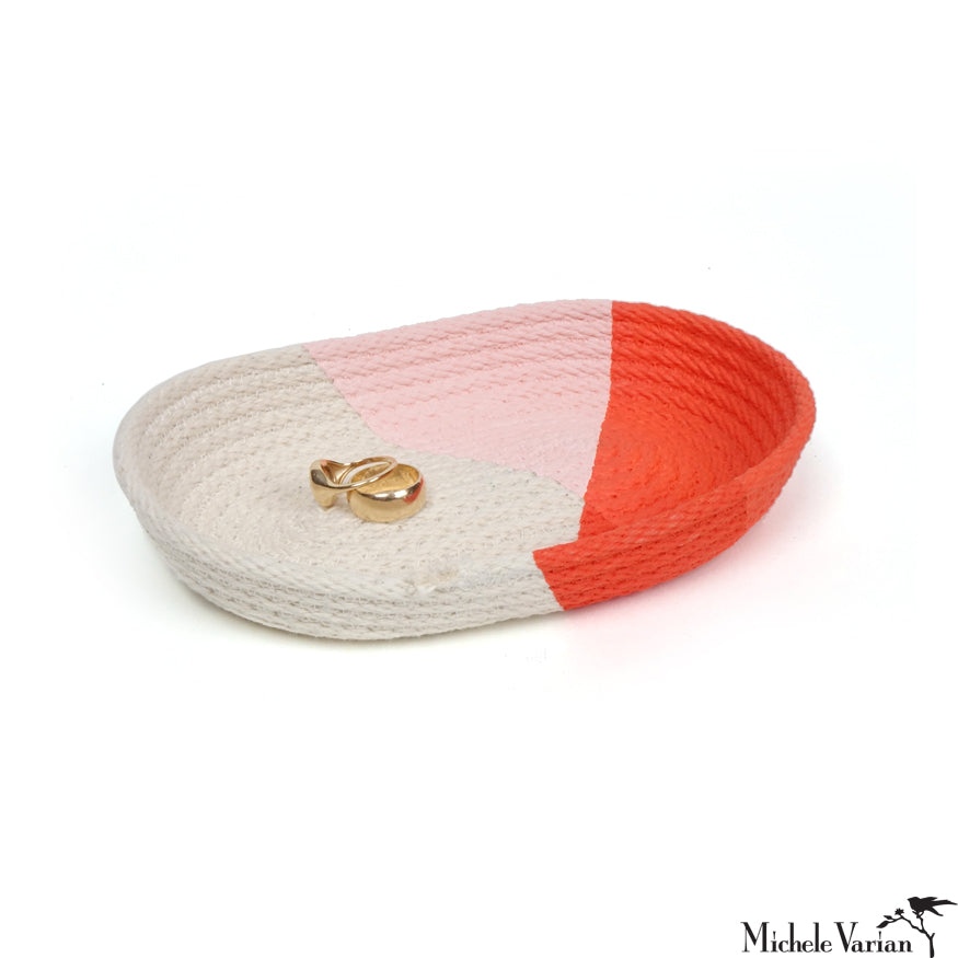 Stitched Cotton Rope Tray Red Dip