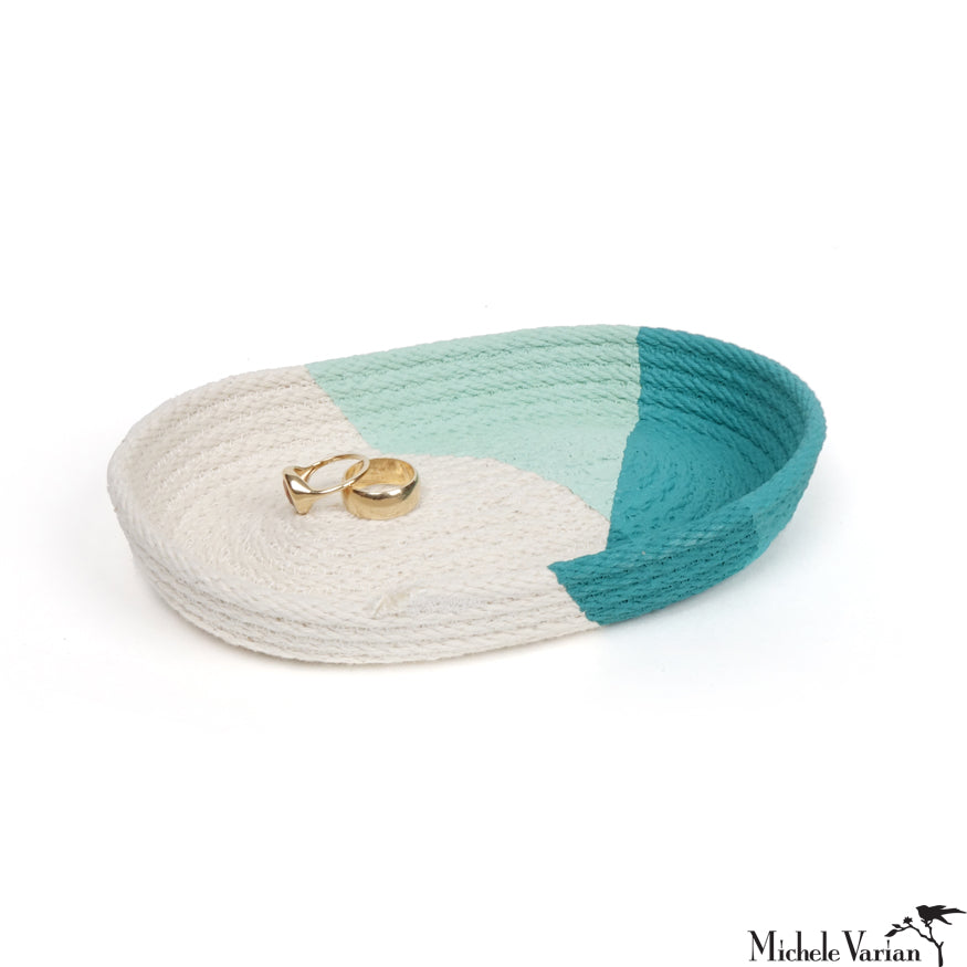Stitched Cotton Rope Tray Teal Dip