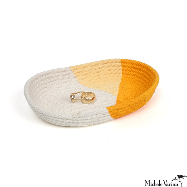 Stitched Cotton Rope Tray Yellow Dip
