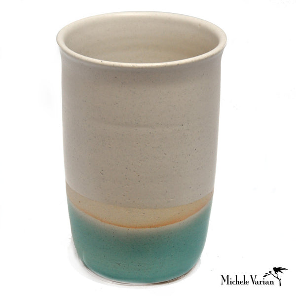 Cream and Teal Stoneware Vase W/ Lip