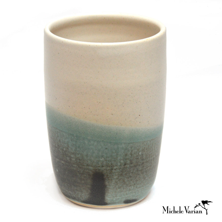 Cream and Teal Stoneware Vessel