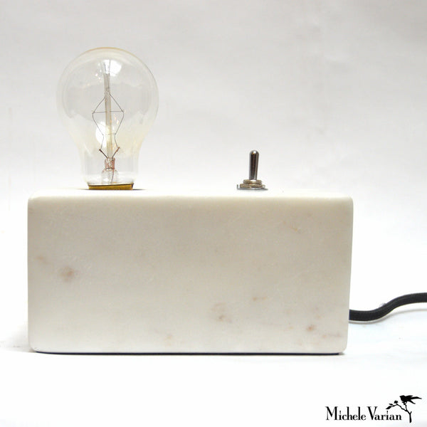 Cream Marble Block Table Light