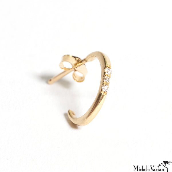 Three Diamonds Crescent Hoop Single Stud Earring