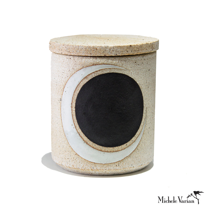 Black and White Full and Crescent Moon Stoneware Lidded Jar