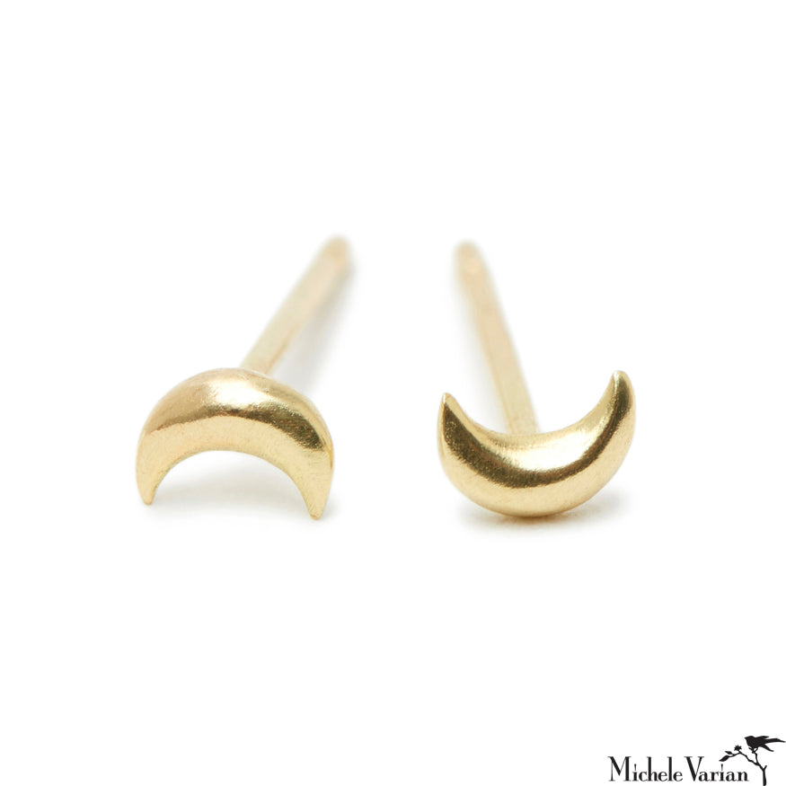 Tiny Gold Crescent Stud Earrings