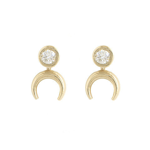 Diamond Crescent Stud Earrings