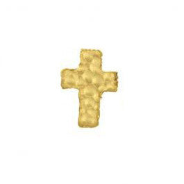 SINGLE Hammered Tiny Gold Cross Stud