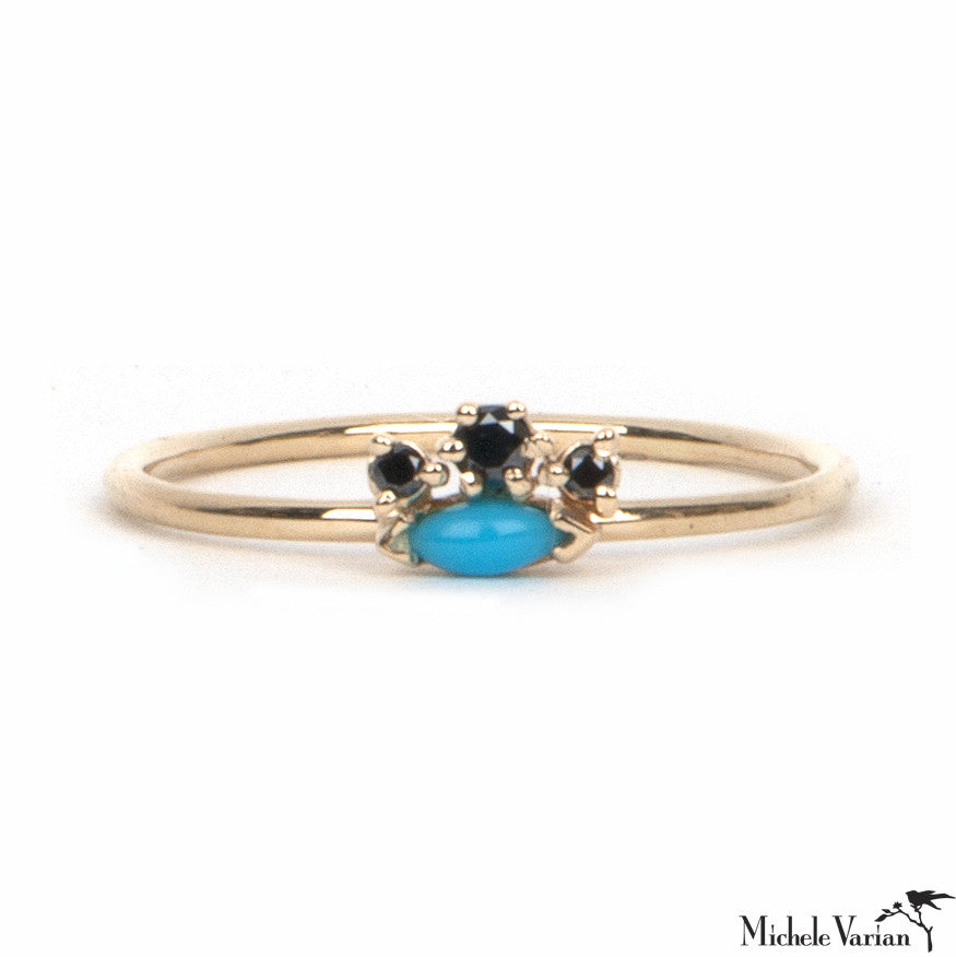 Gold Turquoise and Black Diamond Crown Ring