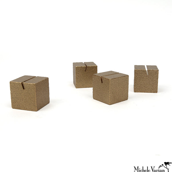 Brass Cube Japanese Card Holders Set of 4 Gold