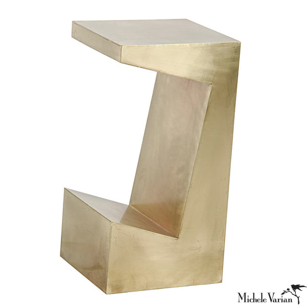 Brass Finish Cut Out Side Table