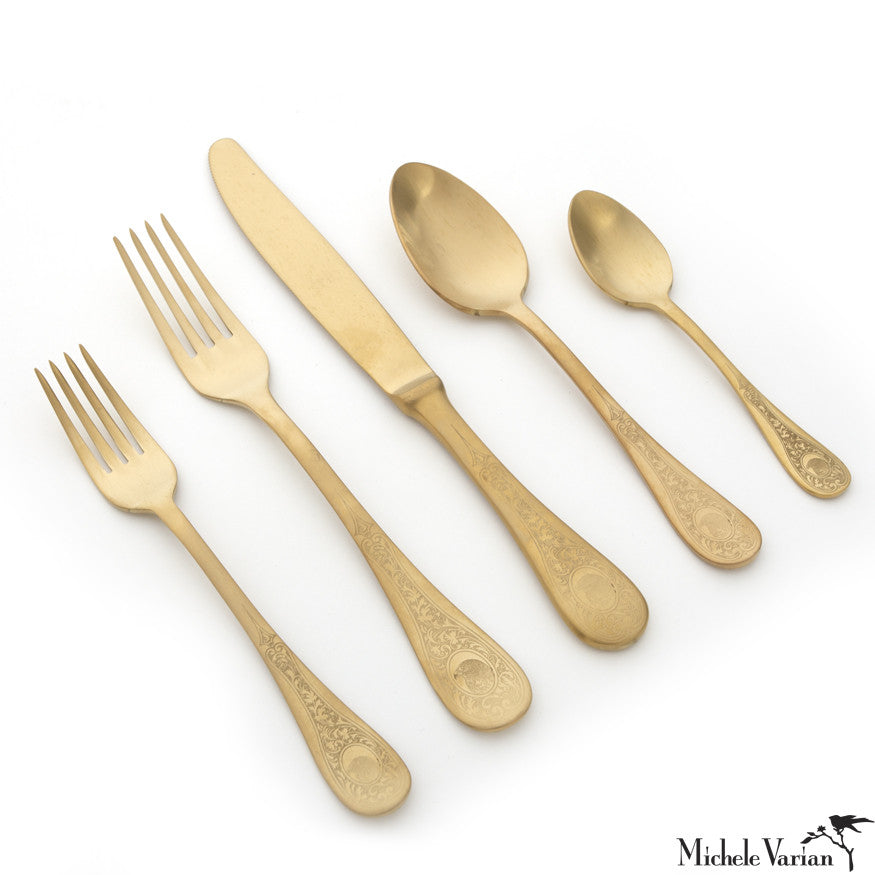 Brushed Gold Eagle Cutlery