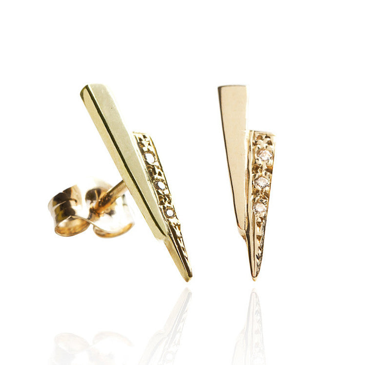 Gold Razor Stud Earrings