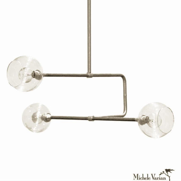 Nickel and Glass Globe Triple Circuit Chandelier Light