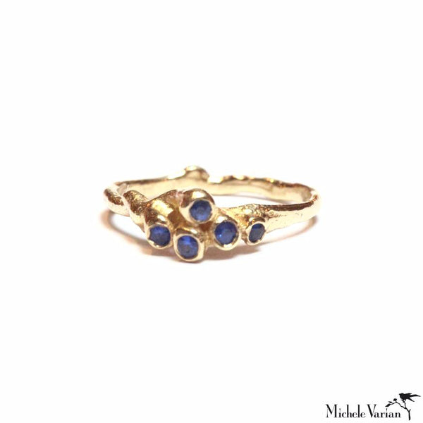 Blue Sapphire Sea Anemone Cluster Gold Ring