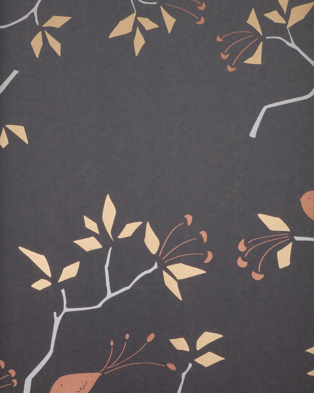 Geo Bird Wallpaper Metallic Bronze, Silver and Copper on Graphite