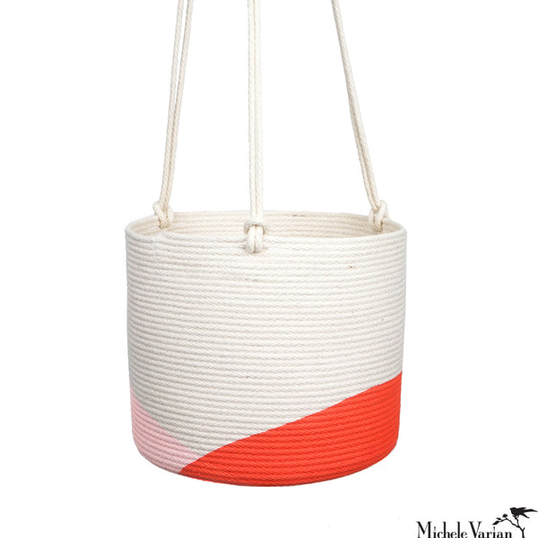 Stitched Cotton Rope Hanging Planter Red Dip