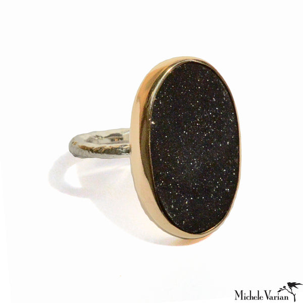 Black Druzy Gold Ring
