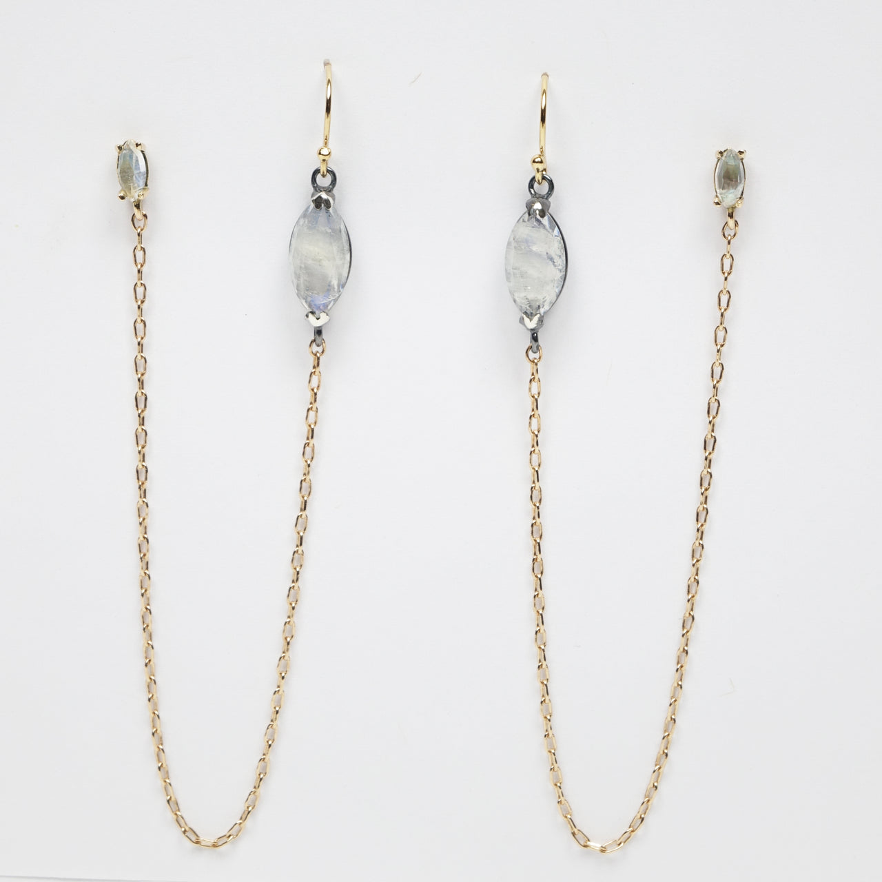 Rainbow Moonstone Double Pierced Gold and Silver Earrings