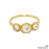 Triple White Ice Rough Diamonds Gold Ring