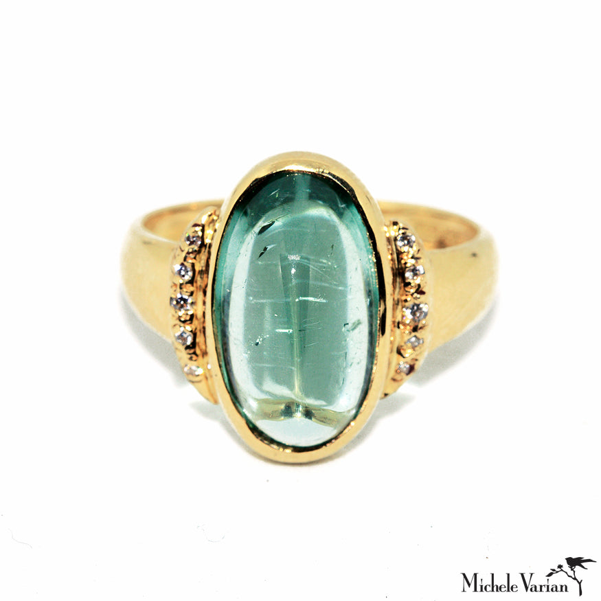 Large Crescent Moon In Color Green Oval Tourmaline Gold Ring