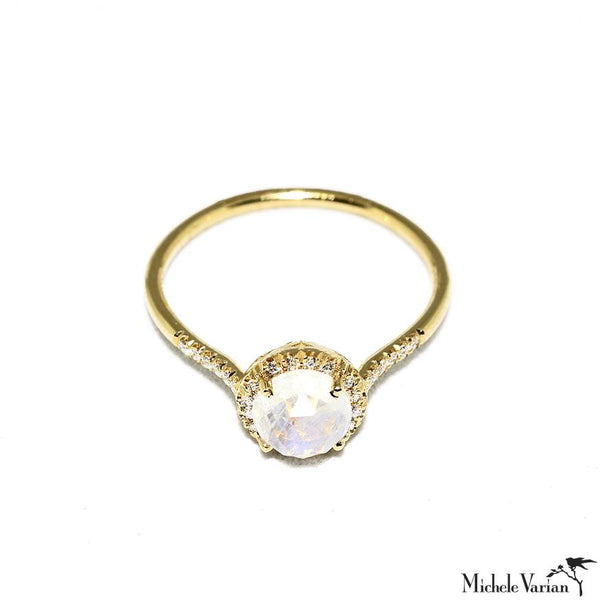 Rainbow Faceted Moonstone and Diamonds Gold Ring