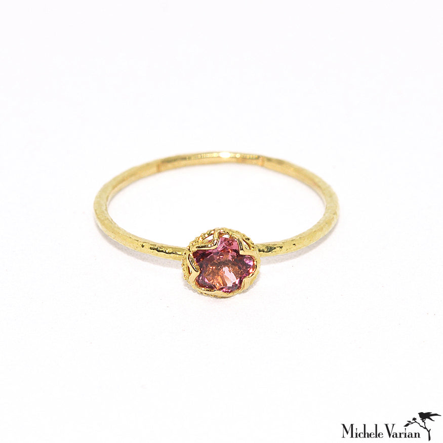 Small Pink Ice  Pink Tourmaline Gold Ring