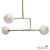 Glass Globe Triple Circuit Chandelier Light in Nickel