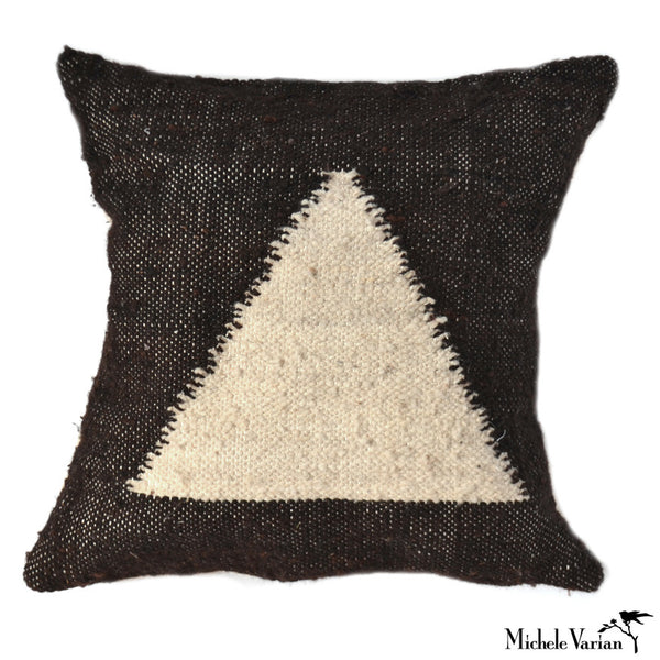 Triangle Wool Pillow Black and Cream 18x18