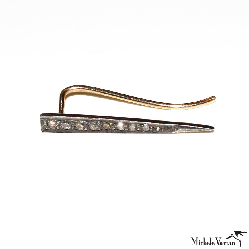 Spike Pave Black Diamond Sterling Silver & Gold Earring