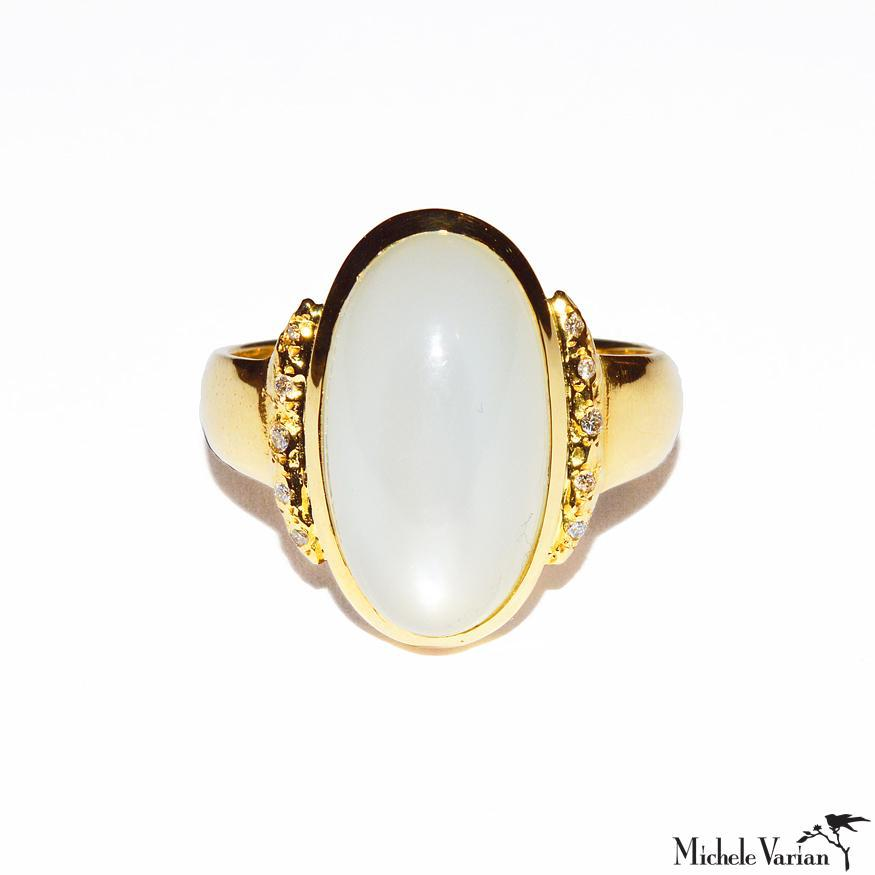 Crescent Moon in Color Moonstone and Diamonds Gold Ring