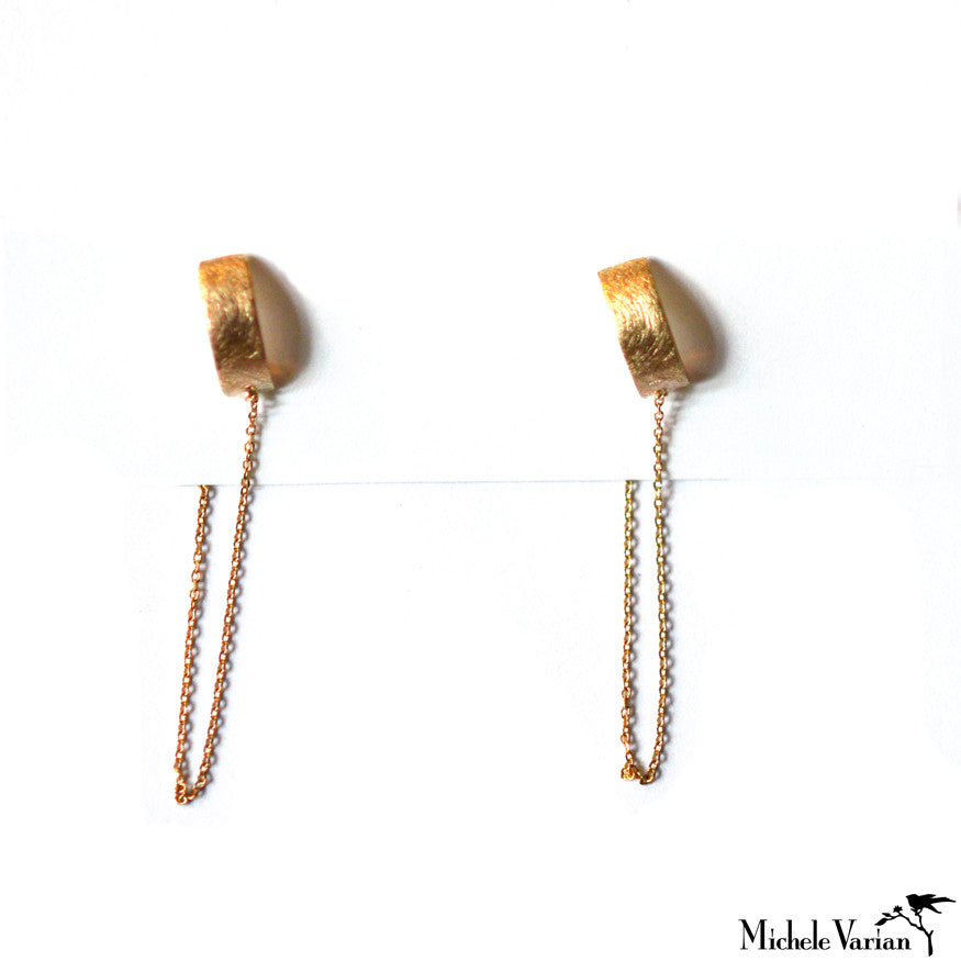 Cuff Chained Gold Studs