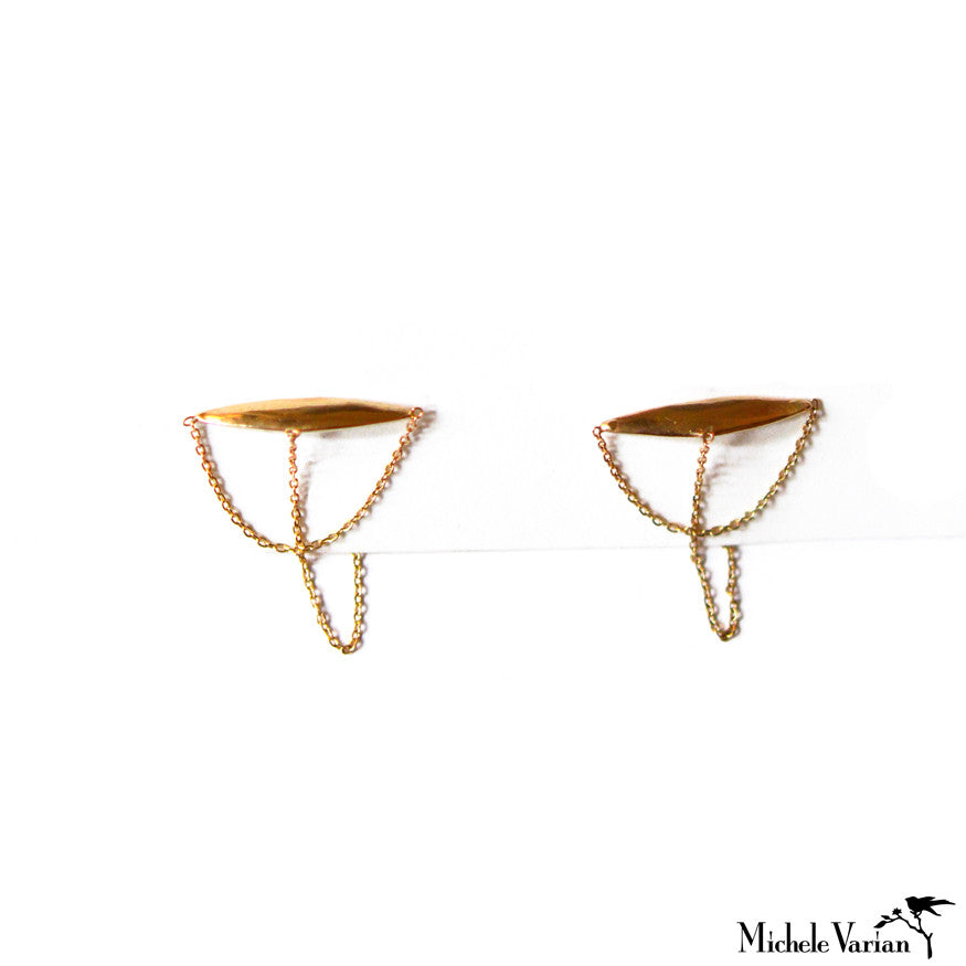 Double Chained Geo Gold Studs