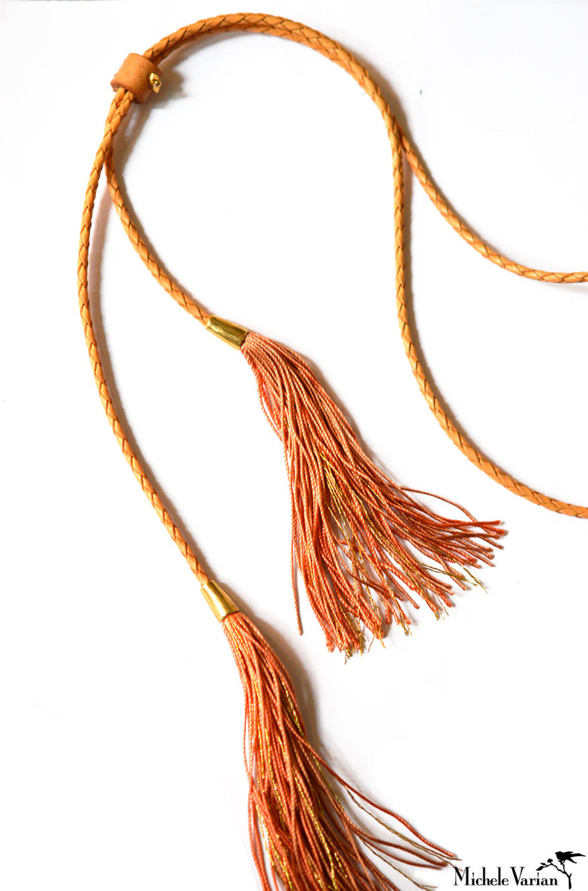 Leather and Tassels Necklace