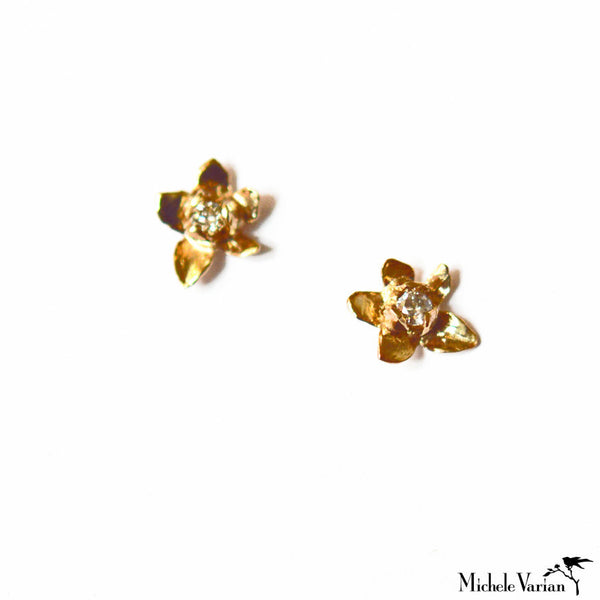 Diamond and Gold Jasmine Blossom Earrings