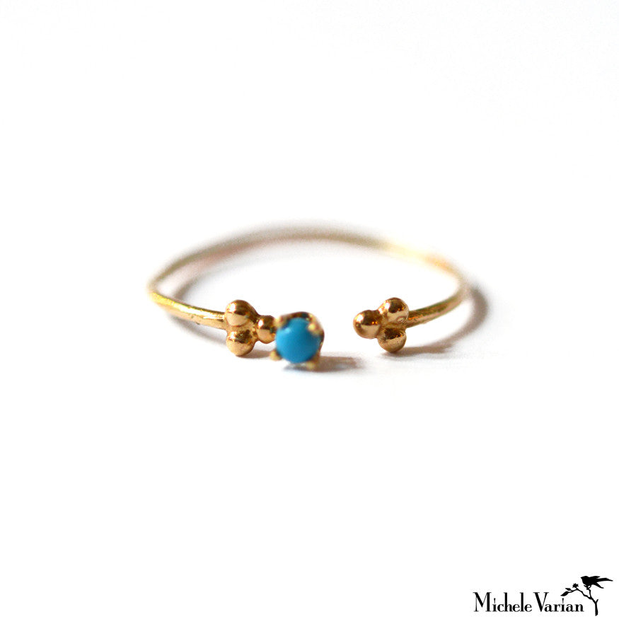 Turquoise and Gold Open Ring